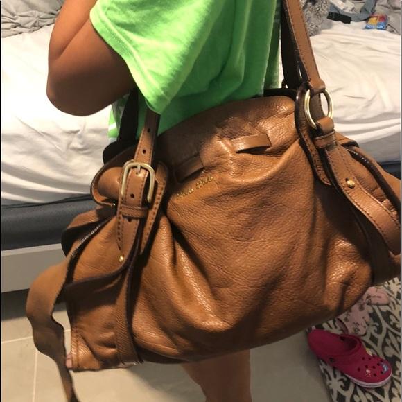 db41e475384d SALE Auth Miu Miu Satchel Beige Leather Bag. M 5bd63001c9bf50ecf8ad1d99